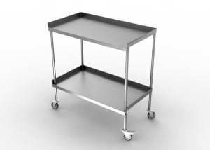 STAINLESS STEEL TWO SHELVES DELIVERY TROLLEY