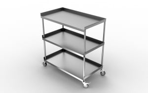STAINLESS STEEL THREE SHELVES INSTRUMENT TROLLEY