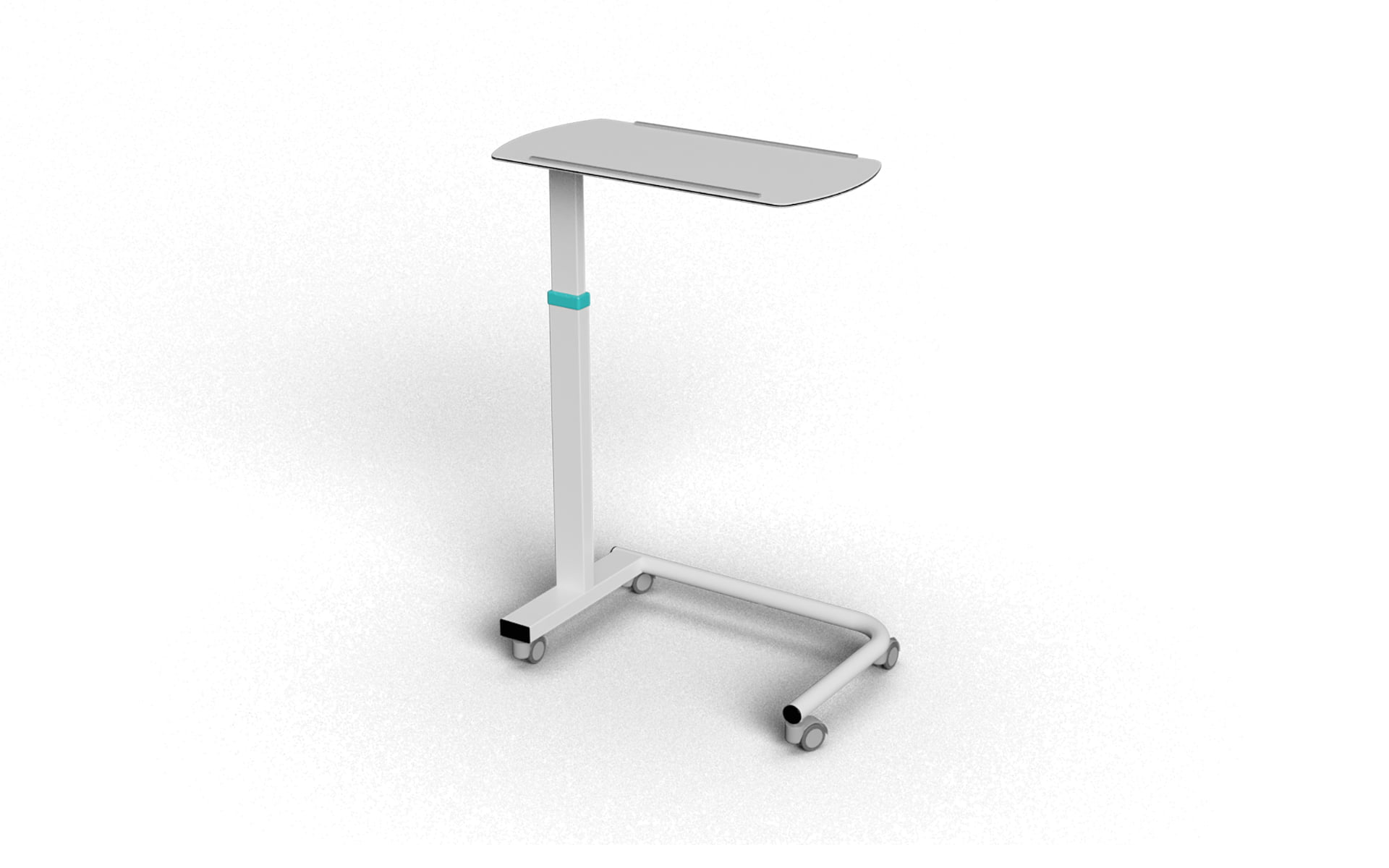 BASIC MODEL COMPACT LAMINATE OVERBED TABLE WITH MANUAL HEIGHT ADJUSTMENT